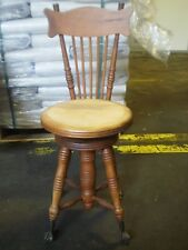 Antique Wood Tonk & Co Swivel Stool w/ Chair Back Glass Ball & Claw Feet