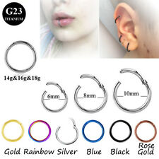 100% Titanium Hinged Segment Ring Hoop Ear Lip Nose Piercing Septum Cliker