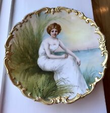Antique Limoges Hand Painted Portrait Plate Of Woman By Ocean