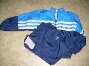 Vintage 90's Adidas 3 Stripe Track Suit Blue White  Jacket Pants Size Large
