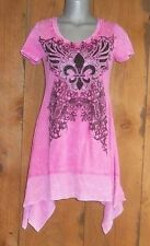 new VOCAL TUNIC DRESS SHIRT western bling TYE-DYED pink MED FLEUR-DE-LIS cowgirl