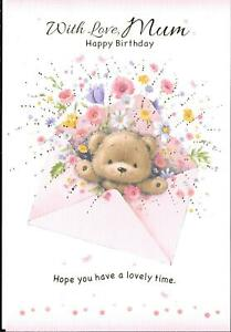BIRTHDAY CARD WITH LOVE, MUM - CUTE BEAR IN A PINK ENVELOPE, FLOWERS