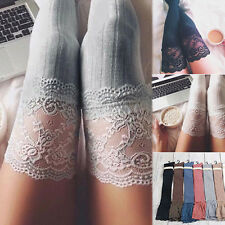 Women Lace Knitting Cotton Over Knee Thigh Stockings High Pantyhose Tights New
