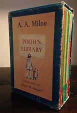 A.A. MILNE Winnie POOH'S LIBRARY BOX SET Warren Chappell RARE, 4 HCs w/ DJ, 1961