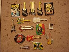 VINTAGE GUITAR ROCK MUSIC MARLEY STONES MOTORHEAD ACDC PIN BADGE JOB LOT SET NEW