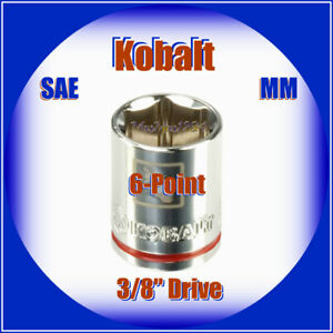 """KOBALT 3/8"""" Drive Shallow Socket - 6 Point - SAE Inch Metric MM - Any Size - NEW"""