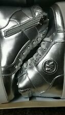 MICHAEL KORS KID Girl's Pewter MK High-Top Sneaker Youth Size 1 NIB