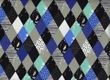 Jerseystoff - Little Darling - mehrfarbig - Rauten - Blau - Grau - Breite 140cm