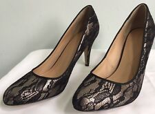 MONSOON Gold & Black Lace Overlay Court Shoes UK 7 EU 40 Heels Party Event