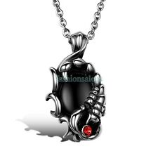 "22"" Inch Stainless Steel Chain w/ Scorpion Black Glass Pendant  Mens Necklace"