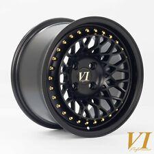 "4 x ViP Infinity Flat Black 15"" x 8.25"" 4x100 ET15 alloys fit MX5 Golf Civic E30"
