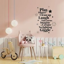 Imagine Create Quote Playroom Kids Vinyl Art Sticker For Playhouse Wall Decals