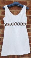 Vintage 60s white hoop ring midriff mini dress 12