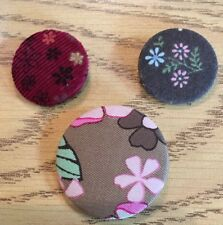 3 Cloth Covered Button Pins Floral Flower