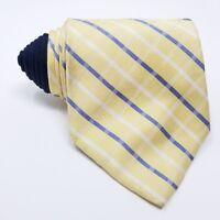 Tommy Hilfiger Mens Necktie Plaid Two Tone Classic Silk Neck Tie Blue & Yellow