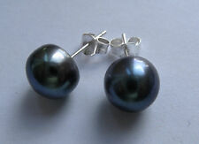 9.5mm Sterling Silver Freshwater Black Pearl stud earrings