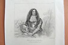 c21-12-3 Gravure 1860 Charles II roi d'Angleterre d'Ecosse et d'Irlande