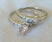 Estate 14K White Gold Solitaire Diamond Ring Set - 6.6 gms, Size 8, 0.85 ctw