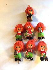 Vtg Set 7 Lime Green Orange Felt Polka Dot Rag Doll Christmas Ornaments Japan?