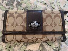 Coach Women's Park Checkbook Wallet Clutch Large Tri-Fold Khaki/Brown