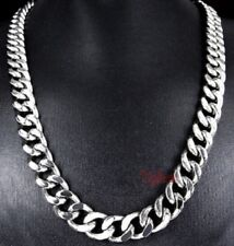 Heavy 60cm Stainless Steel Necklace Silver Curb Link Cuban Chain 24 inch N91 UK