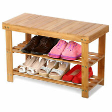 New Bamboo Rack Room Shoe Bench Organizers Seat Storage Closet Entryway 2-Tier