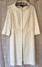 ZARA WOMAN **SIZE M** WOMEN'S CREAM EYELET 3/4 SLEEVE LONG JACKET COAT **NWT**