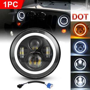 "Black 7"" LED Headlight Halo Angle Eyes Hi-Lo Beam For Jeep Wrangler JK JKU 97-18"