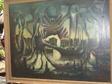 Huile sur panneau par Armand Perez 1975 un port a décor surréaliste