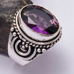 Amethyst Ethnic Handmade Ring Jewelry US Size-6 AR 39814