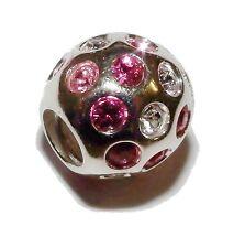 "Pre-Owned Genuine CHAMILIA Silver & Pink Gem Set ""Disco"" Bead - #2"