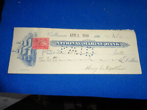 1900 NATIONAL MARINE BANK, BALTIMORE MD BANK CHECK W/REVENUE STAMP