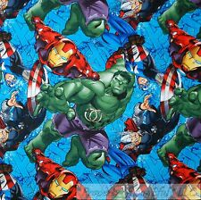 BonEful Fabric FQ Cotton Quilt Avengers Super Hero Hulk Marvel Captain America L