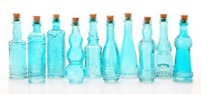 "Vintage Glass Bottles w/ Corks Set 10 Designs 5"" Tall BLUE wedding favor NEW"