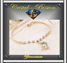 Bracelet femme  zirconium Coeur semi rigide doré or fin mariage fiançaille  D17