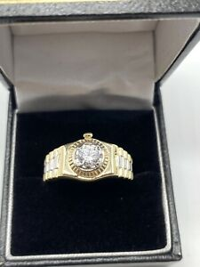 9ct Yellow Gold Mens Ring - Rolex Sides, Cz Stone & Fully Hallmarked Sizes R-V