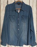 Large/XL/1X/2X/3X Blue Denim Chambray Cotton Shirt Top Blouse Pearl Snap Western