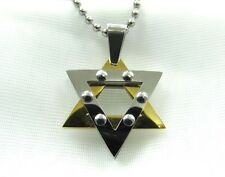 Stainless Steel Gold & Silver Star of David Pendant with free Chain US Seller!!
