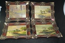 SIGNED PINTO OIL ON BOARD PAINTING LOT COLLECTION 4PC ORIGINAL FRAMES KOLB NYC