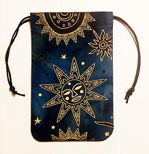"Celestial Brilliant Sun Tarot Bag 5""x7"" Drawstring Pouch Runes Crystals Dice"