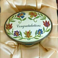 """Staffordshire Enamel Hand-Painted in England 22/474 Flower """"Congratulations"""" NEW"""