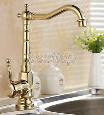 Gold Color Brass Bathroom Kitchen Bar Vessel Sink Swivel Faucet Mixer Tap sgf058
