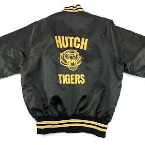 Vintage Pla-Jac By Dunbrooke Black Hutch Tigers Varsity Snap Jacket USA Size L