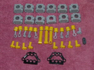 LEGO TECHNIC Engine Qty 12 Light Grey Cylinder Block with12 x Yellow Pistons