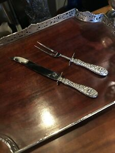 """Stieff Repousse Rose Pattern Sterling Silver Carving Set 14"""" knife 11"""" fork"""