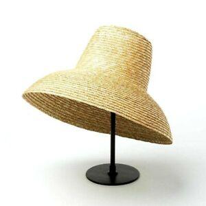 Women Lamp Shape Sun Hat Wide Brim Summer Beach Natural Wheat Straw Soft Travel