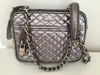 Dolce And Gabanna D&G Authentic Calf Skin Leather Taupe Grey Quilted Handbag