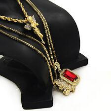 "14k Gold Plated Angel Ruby Prayer Hand Pendant 24"" Rope & 2-30"" Box Chain Bundle"
