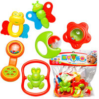 6Pcs Plastic Baby Hand Shake Bell Ring Rattles toys Baby Educational Toys Fa ZY