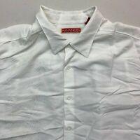 Havanera Button Up Shirt Mens 2XL White Short Sleeve Straight Hem Pointed Collar